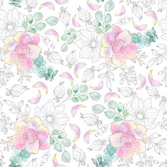 Watercolor seamless pattern of summer leaves on a light