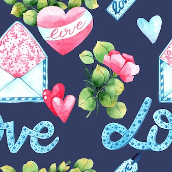 Акварель бесшовный узор на день святого валентина. ручная роспись фона. романтическая иллюстрация идеально подходит для дизайна поздравлений, гравюр, листовок, открыток, праздничных приглашений и многого другого.