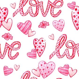 バレンタインデーの水彩のシームレスパターンテクスチャ。手描きの背景。デザインの挨拶、版画、チラシ、カード、休日の招待状などに最適なロマンチックなイラスト。