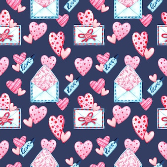Watercolor seamless pattern texture for valentine's day. hand painted background. romantic illustration