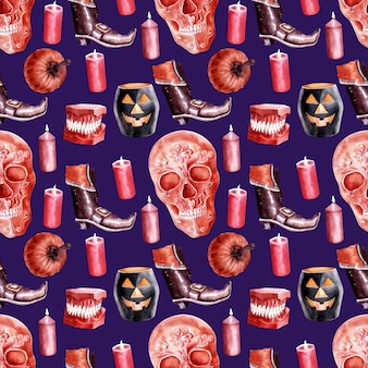 Watercolor seamless pattern on the theme of the holiday halloween. characteristic characters and attributes