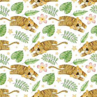 白い背景の上の水彩画のシームレスなパターンの虎熱帯の葉と花
