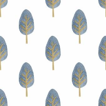 스칸디나비아 스타일의 수채화 원활한 패턴 나무