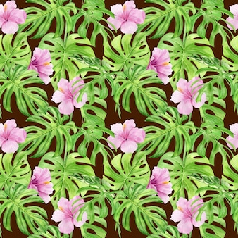 Watercolor seamless pattern of tropical leaves and hibiscus flowers