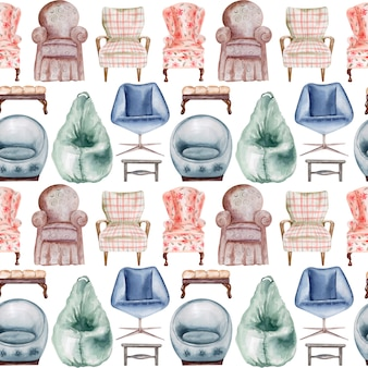 Watercolor seamless pattern upholstered chairs and benches. interior element