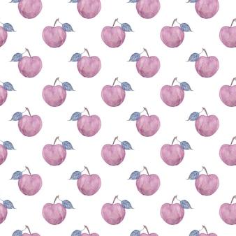 葉とピンクのリンゴと水彩のシームレスなパターン。