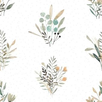 Акварель бесшовные модели с абстрактными растениями и цветами. симпатичный фон. набор букетов.