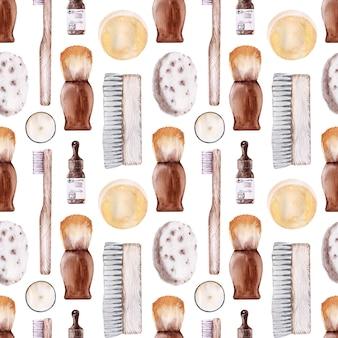 バスルーム用アクセサリー付き水彩シームレスパターン。エコスタイル