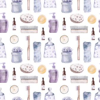 バスルーム用アクセサリー付き水彩シームレスパターン。