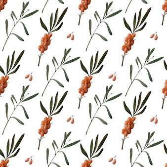 Watercolor seamless pattern with berries, twigs and leaves of sea buckthorn