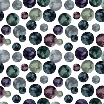 Watercolor seamless pattern with black and purple circles.