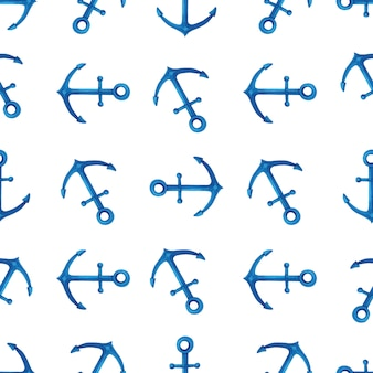 Watercolor seamless pattern with blue anchors