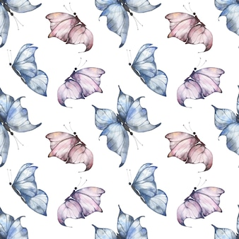 白地に青とピンクの羽ばたき蝶、はがき、布、パッケージの夏のイラストと水彩のシームレスなパターン。