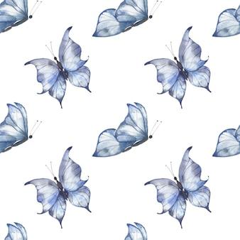 白い背景に青い羽ばたき蝶、はがき、布、パッケージの夏のイラストと水彩のシームレスなパターン。