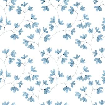 青い葉の小枝の小さな葉と水彩のシームレスなパターン