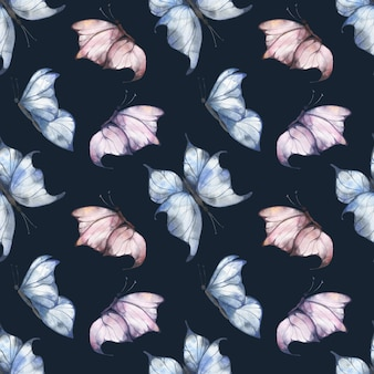 Watercolor seamless pattern with blue and pink fluttering butterflies on a dark background, summer illustration for postcards, fabrics, packaging.