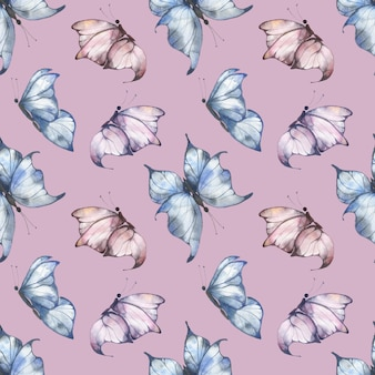 Watercolor seamless pattern with blue and pink fluttering butterflies on a pink background, summer illustration for postcards, fabrics, packaging.