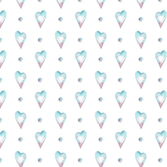 Watercolor seamless pattern with blue and pink hearts and polka dot. romantic background.