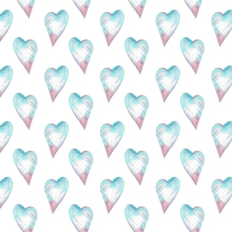 Watercolor seamless pattern with blue and pink hearts. romantic background.