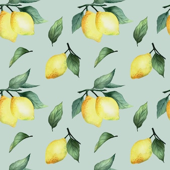明るい黄色のレモンと青い背景、明るい夏のデザインの葉と水彩のシームレスなパターン。