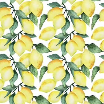 明るい黄色のレモンと白い背景、明るい夏のデザインの葉と水彩のシームレスなパターン。