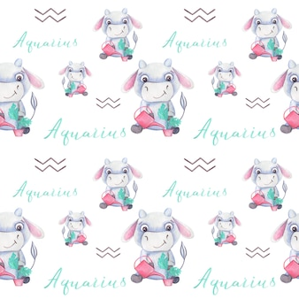 Watercolor seamless pattern with bull symbol of the year 2021 zodiac