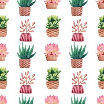 Акварель бесшовные модели с кактусами в горшках