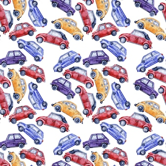 Watercolor seamless pattern with cars, road signs, maps and traffic lights