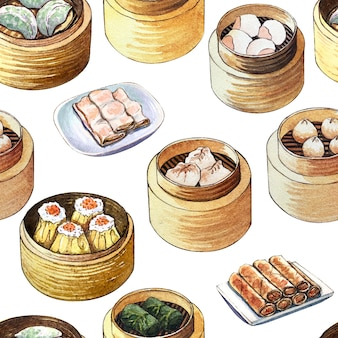 中華料理点心と水彩のシームレスパターン