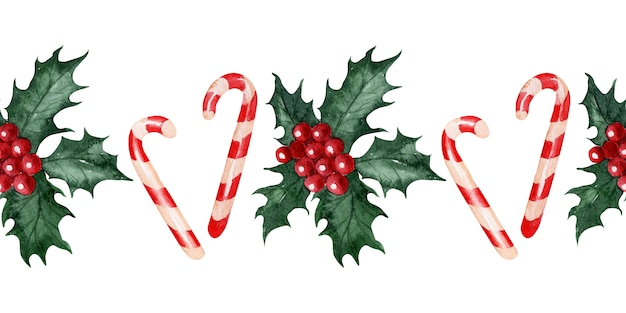 Watercolor seamless pattern with christmas flower holly