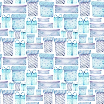 Watercolor seamless pattern with christmas gifts in blue and purple colors.