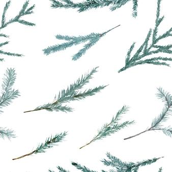 크리스마스 나무와 수채화 원활한 패턴
