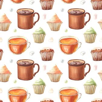 코코아 머핀, 머핀, 컵케이크, 차 컵, 과자, 마시멜로와 함께 수채색 매끄러운 패턴입니다.