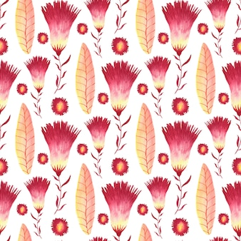 Watercolor seamless pattern with creative flowers.