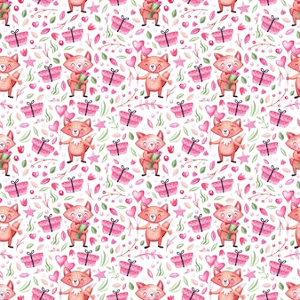 Watercolor seamless pattern with cute festive foxes, gifts, leaves, flowers and balloons. background for holidays, children, birthday and baby shower