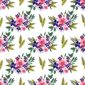 装飾的な鮮やかな花と水彩のシームレスパターン