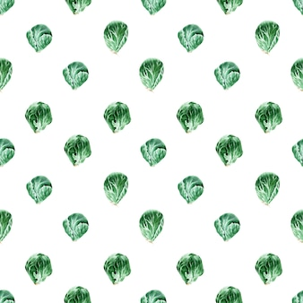 Watercolor seamless pattern with different types of cabbage. brussels sprouts and kale
