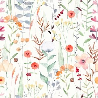 Акварель бесшовные модели с разными полевыми цветами. симпатичный фон для ткани, текстиля, детских обоев. луг с цветами.