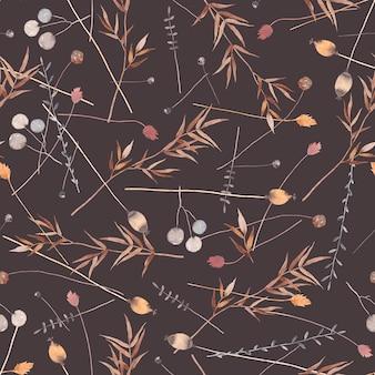 Акварель бесшовные модели с сушеными цветами, травами. темный фон.