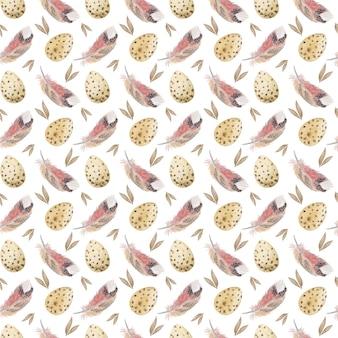 イースターエッグと羽の水彩画のシームレスなパターン穏やかなパステルカラーの春のデジタル紙