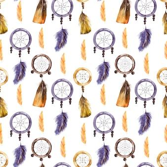 Акварельный фон с перьями и ловцами снов