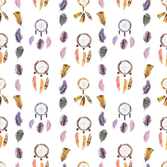 Watercolor seamless pattern with feathers and dream catchers