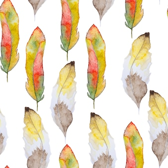 Watercolor seamless pattern with feathers