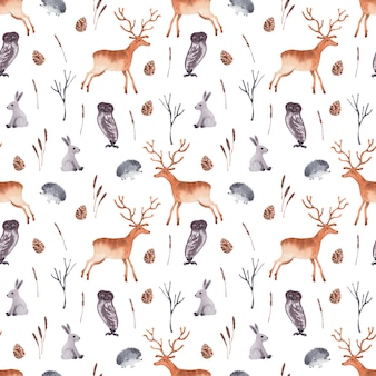 Watercolor seamless pattern with forest animals