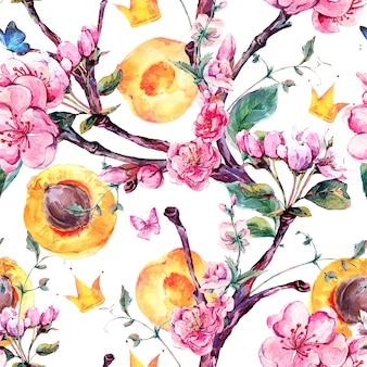 Watercolor seamless pattern with fruits and flowers apricot tree