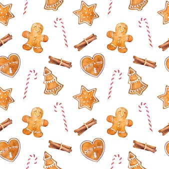 Watercolor seamless pattern with gingerbread cookies, cinnamon and candy canes