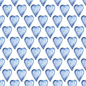 青いガラスの心と水彩のシームレスパターン