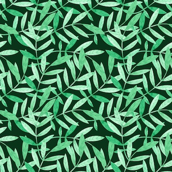 Watercolor seamless pattern with green branches on dark green