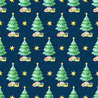 Watercolor seamless pattern with green christmas tree with gift boxes.