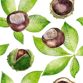 Watercolor seamless pattern with green leaves and chestnuts.